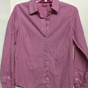 Izod Mens Button Front Shirt Pink White Gingham S
